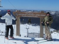 Bernie (r) at Thredbo's highest lift. Credit: Bernie Weichsel