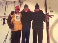 Fast Fred Siget on the left with Pat McCloskey, center, and friend at a long ago National Blind Skiing Championships.