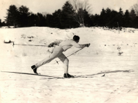 Chummy Broomhall in his stride. Help him celebrate his 98th. Credit: Ski Museum Of Maine