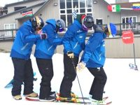 How many silly ski instructors does it take to change a ski's load capacity? Credit: Tamsin Venn