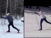 A seasoned Alpine skier (left) compared to a pro Nordic skier.  XC is easy to do wrong. (Credit: Brad Noren_