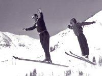 Alf Engen and Alan Engen jumping at Alta, circa 1949.
