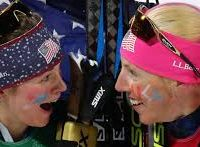 Jessie Diggans and Kikkan Randall after winning Gold in the Women's Cross-Country Team Spring