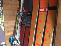 Pat's ski collection from narrow to wide underfoot dimensions. Credit: Pat McCloskey