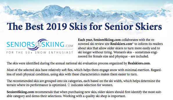 Ski Recommendations For Seniors 2018-19