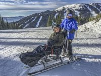 Snow Limo takes a non-skier not only up the mountain but also down a ski trail. Credit: Sun Peaks Snow Limo Tours.