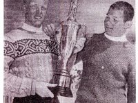 Alan Engen (l) and Jim Gaddis hold the Intermountain Ski Association Alpine Combined trophy. Each won the championship 3 times. c. 1959. Credit: Alan Engen Collection