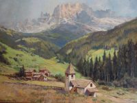 Painting of Dolomites in our hotel room