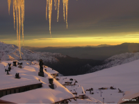 La Parva, Chile, sunset through the icicles. Credit: Casey Earle