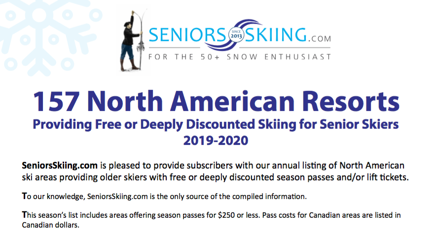 Free Or Big Bargain Skiing For Seniors