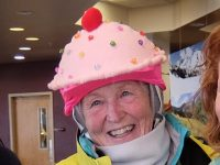 Harriet's daughter bought her a cupcake helmet cover. Seriously, there are such things. Credit: Alta