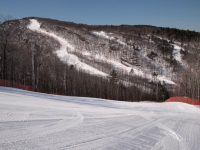 Corduroy in the morning. Dartmouth Skiway has a mix of twisty narrow and open groomers. Credit: TheSnowWay.com