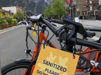 Downtown Banff. Bike rental on Banff Ave. which was closed to traffic this summer for social distancing. Credit: SkiBig3