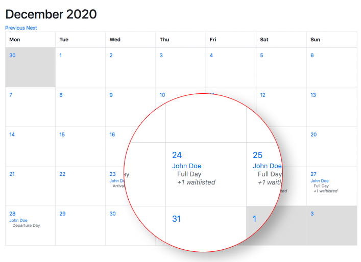 shared calendar for groups with waitlisting feature