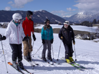 Ski Coach Bob Trueman (r) puts emphasis on the mental aspects of skiing.