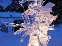 Skiers are among the many ice sculptures.  Source: Lake Louise Tourism